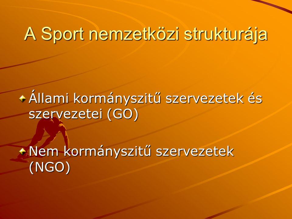 A Sport nemzetközi strukturája Állami kormányszitű szervezetek és szervezetei (GO) Nem kormányszitű szervezetek (NGO)