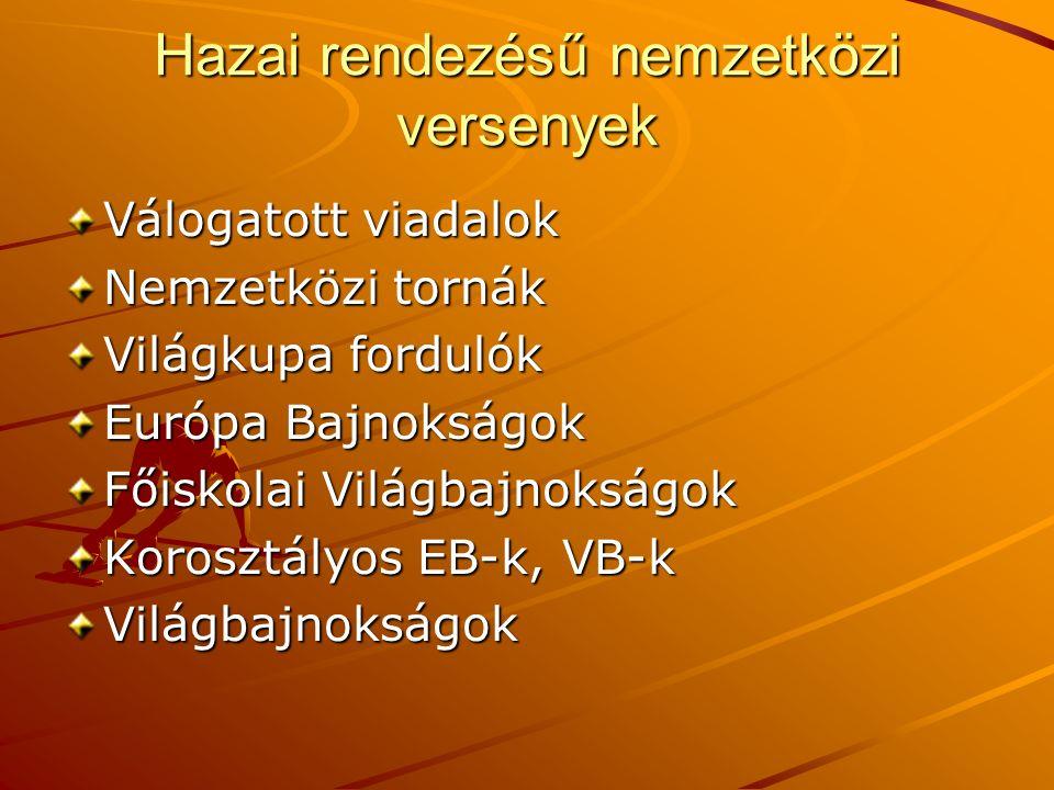 Hazai rendezésű nemzetközi versenyek Válogatott viadalok Nemzetközi tornák Világkupa fordulók Európa Bajnokságok Főiskolai Világbajnokságok Korosztályos EB-k, VB-k Világbajnokságok