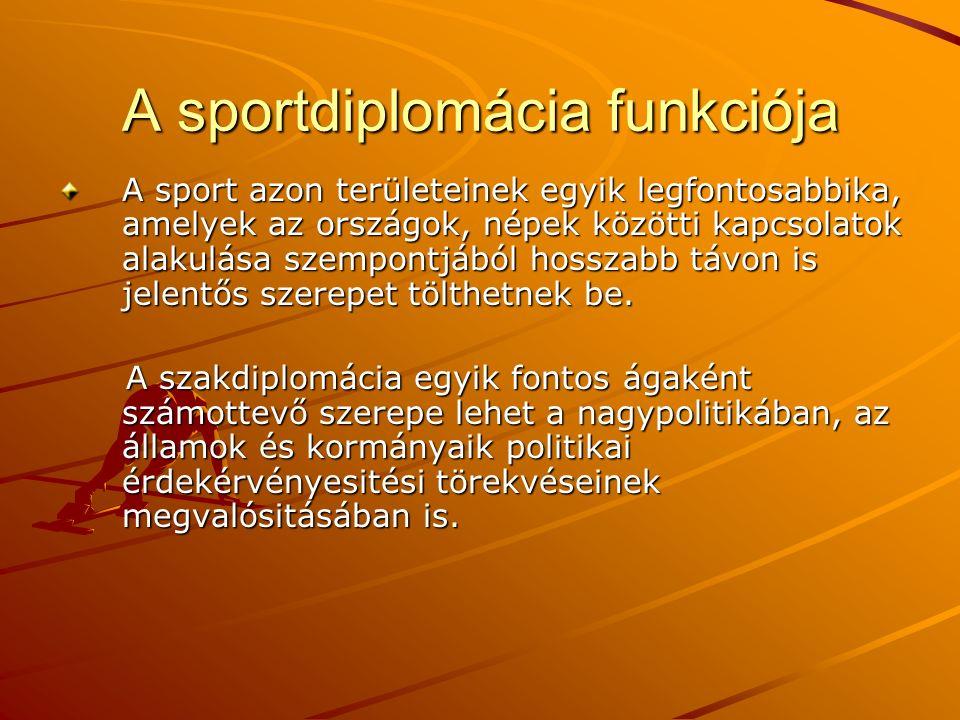 A sportdiplomácia funkciója A sport azon területeinek egyik legfontosabbika, amelyek az országok, népek közötti kapcsolatok alakulása szempontjából hosszabb távon is jelentős szerepet tölthetnek be.
