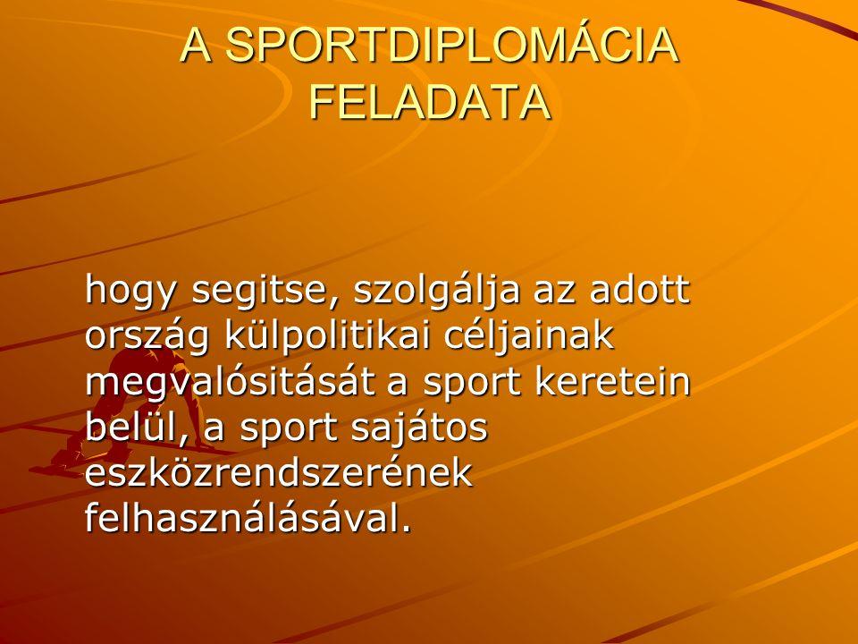 A SPORTDIPLOMÁCIA FELADATA hogy segitse, szolgálja az adott ország külpolitikai céljainak megvalósitását a sport keretein belül, a sport sajátos eszközrendszerének felhasználásával.