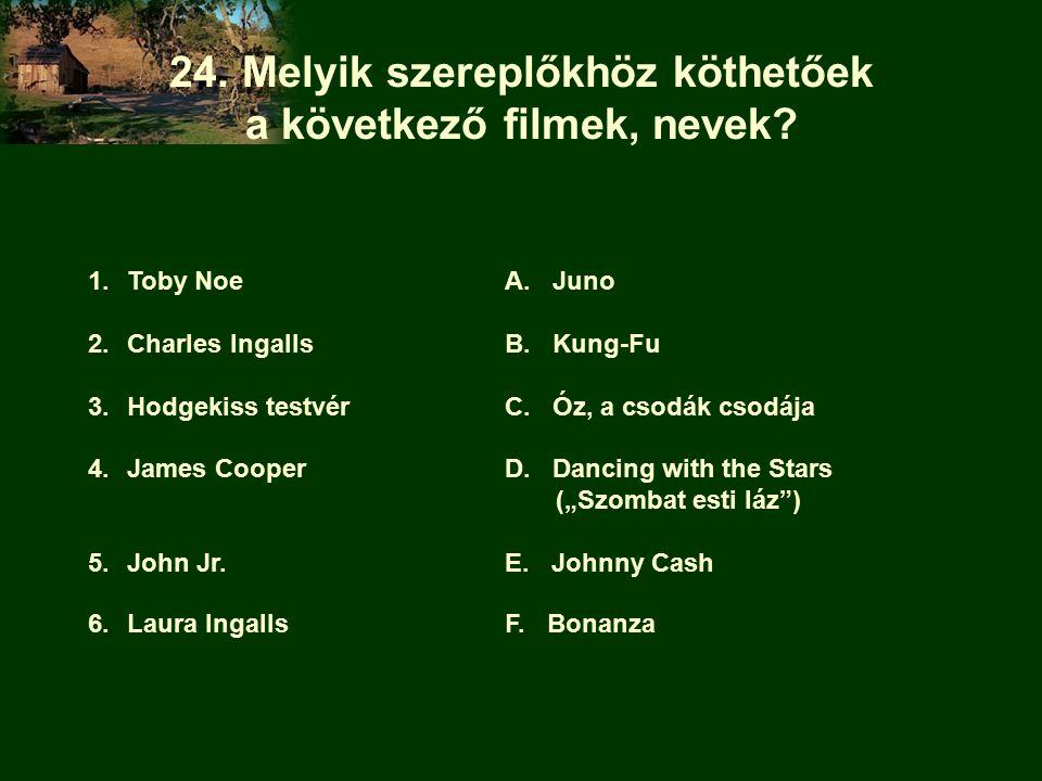 24. Melyik szereplőkhöz köthetőek a következő filmek, nevek.