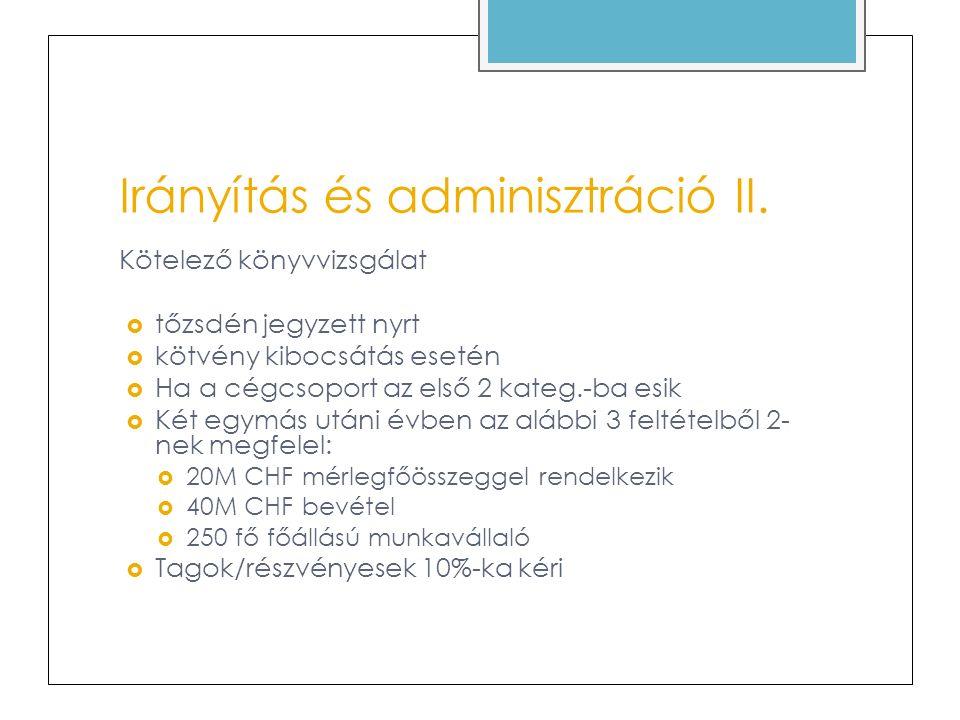 Irányítás és adminisztráció III.