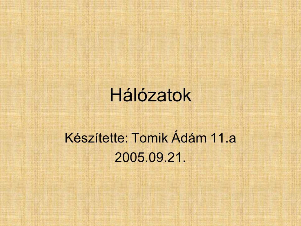 Hálózatok Készítette: Tomik Ádám 11.a 2005.09.21.