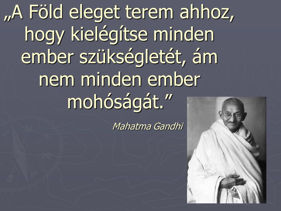 """""""A Föld eleget terem ahhoz, hogy kielégítse minden ember szükségletét, ám nem minden ember mohóságát. Mahatma Gandhi"""