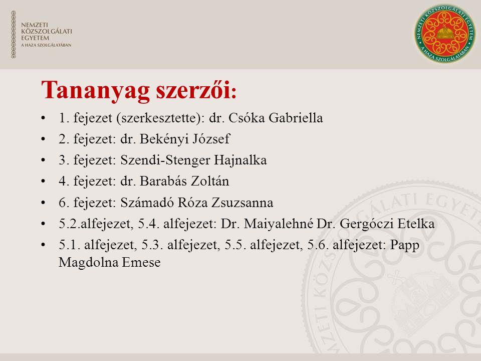 Tananyag szerzői : 1. fejezet (szerkesztette): dr. Csóka Gabriella 2. fejezet: dr. Bekényi József 3. fejezet: Szendi-Stenger Hajnalka 4. fejezet: dr.