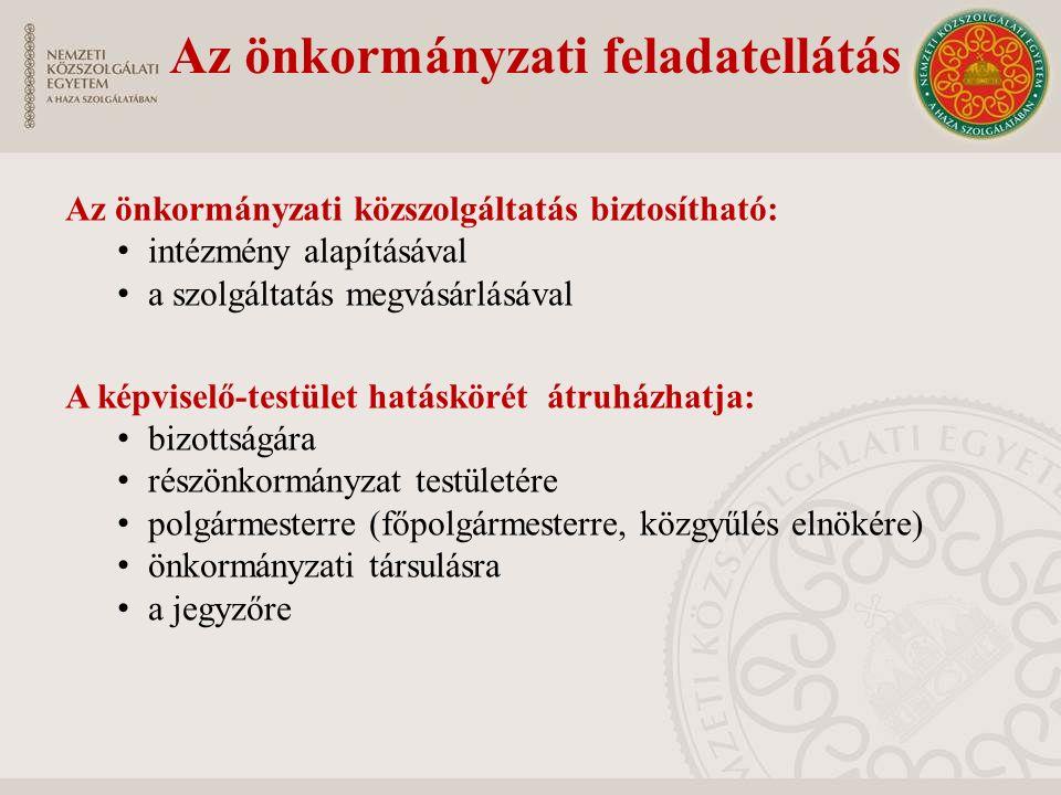 Az önkormányzati feladatellátás Az önkormányzati közszolgáltatás biztosítható: intézmény alapításával a szolgáltatás megvásárlásával A képviselő-testü