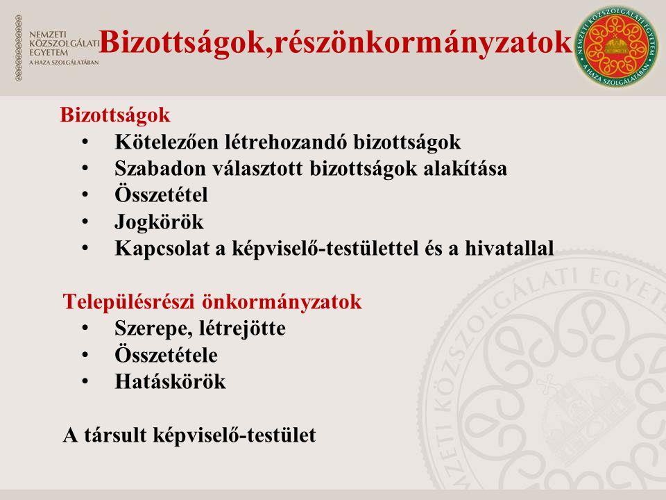 Bizottságok,részönkormányzatok Bizottságok Kötelezően létrehozandó bizottságok Szabadon választott bizottságok alakítása Összetétel Jogkörök Kapcsolat