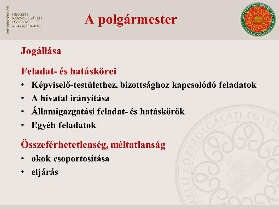 A polgármester Jogállása Feladat- és hatáskörei Képviselő-testülethez, bizottsághoz kapcsolódó feladatok A hivatal irányítása Államigazgatási feladat-