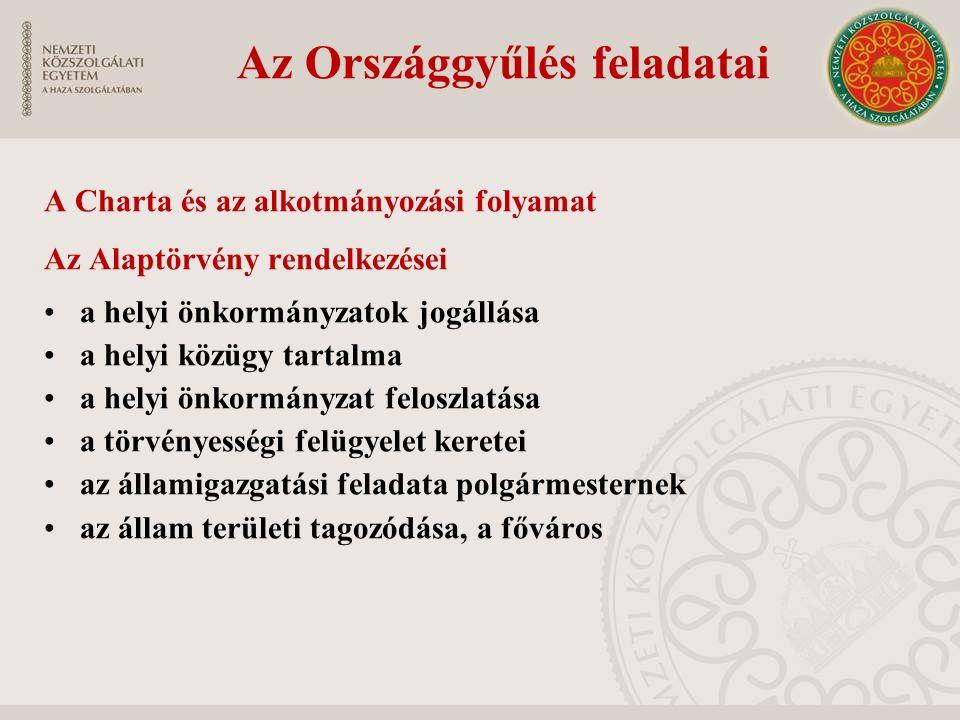 Az Országgyűlés feladatai A Charta és az alkotmányozási folyamat Az Alaptörvény rendelkezései a helyi önkormányzatok jogállása a helyi közügy tartalma