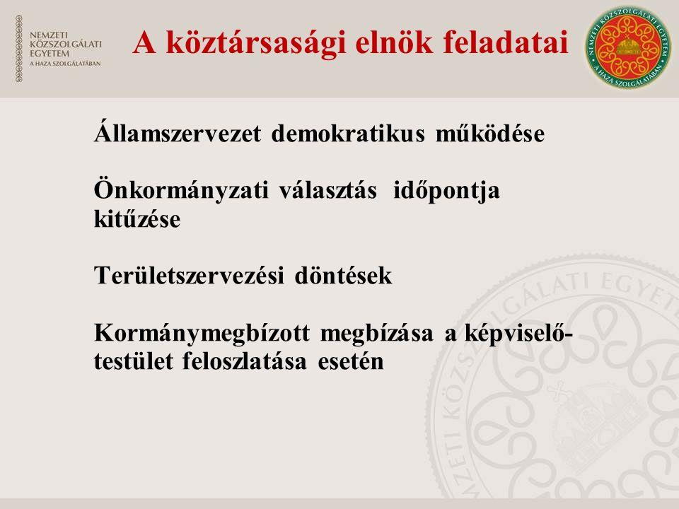 A köztársasági elnök feladatai Államszervezet demokratikus működése Önkormányzati választás időpontja kitűzése Területszervezési döntések Kormánymegbí