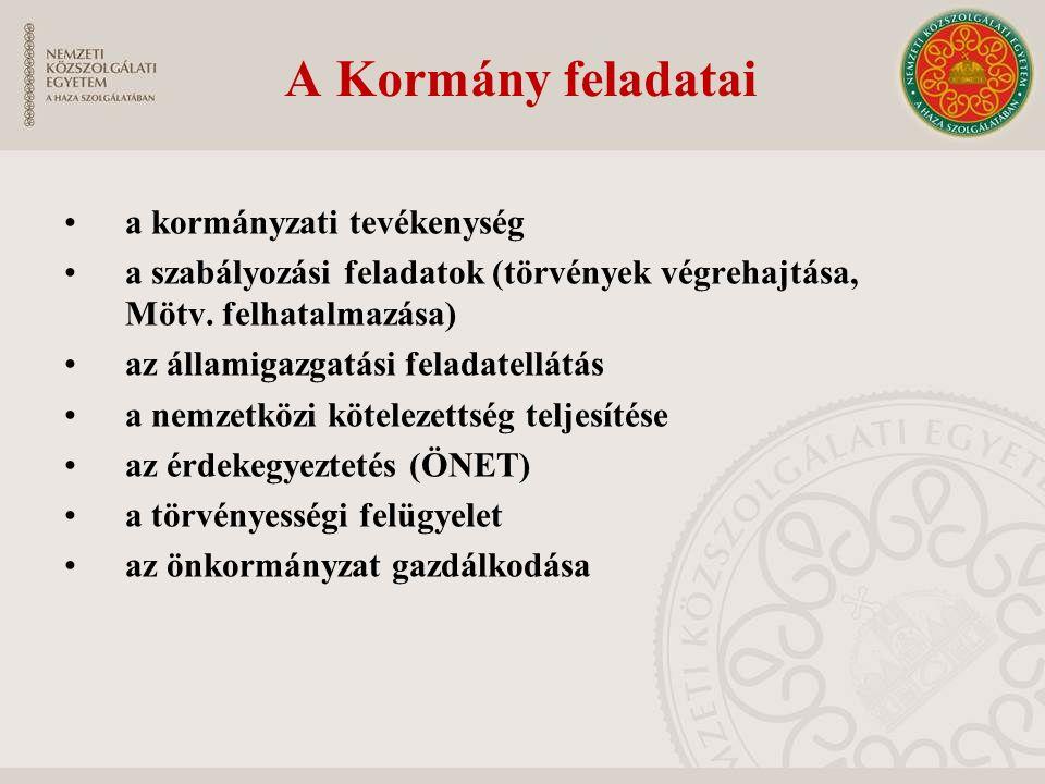 A Kormány feladatai a kormányzati tevékenység a szabályozási feladatok (törvények végrehajtása, Mötv. felhatalmazása) az államigazgatási feladatellátá