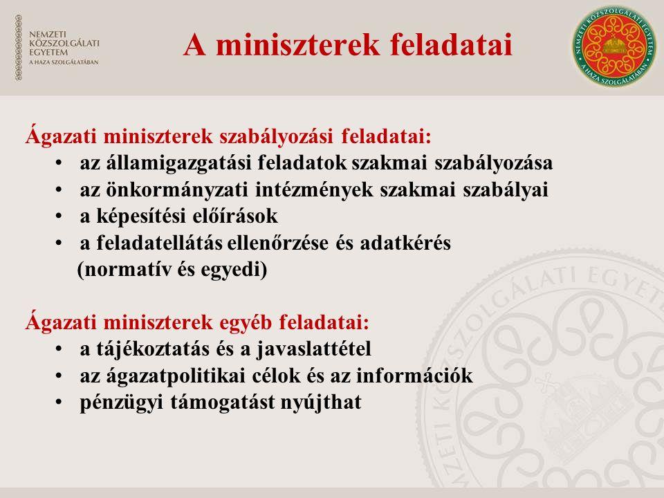 A miniszterek feladatai Ágazati miniszterek szabályozási feladatai: az államigazgatási feladatok szakmai szabályozása az önkormányzati intézmények sza