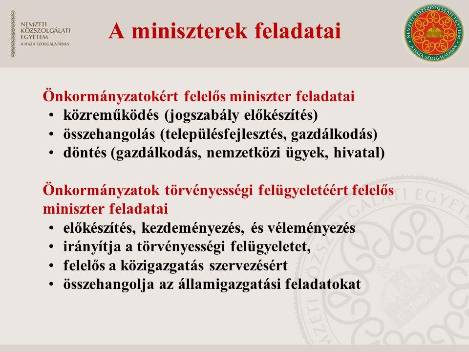 A miniszterek feladatai Önkormányzatokért felelős miniszter feladatai közreműködés (jogszabály előkészítés) összehangolás (településfejlesztés, gazdál