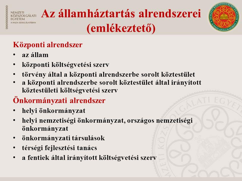 Az államháztartás alrendszerei (emlékeztető) Központi alrendszer az állam központi költségvetési szerv törvény által a központi alrendszerbe sorolt kö