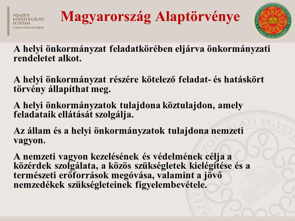 Magyarország Alaptörvénye A helyi önkormányzat feladatkörében eljárva önkormányzati rendeletet alkot. A helyi önkormányzat részére kötelező feladat- é