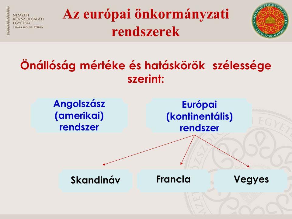 Az európai önkormányzati rendszerek Önállóság mértéke és hatáskörök szélessége szerint: Angolszász (amerikai) rendszer Európai (kontinentális) rendsze