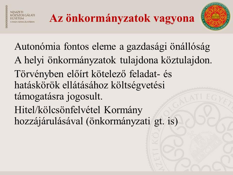 Az önkormányzatok vagyona Autonómia fontos eleme a gazdasági önállóság A helyi önkormányzatok tulajdona köztulajdon. Törvényben előírt kötelező felada