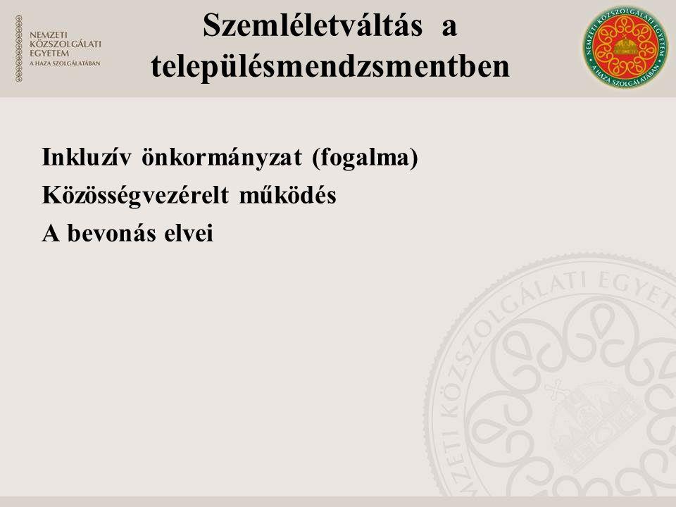 Szemléletváltás a településmendzsmentben Inkluzív önkormányzat (fogalma) Közösségvezérelt működés A bevonás elvei
