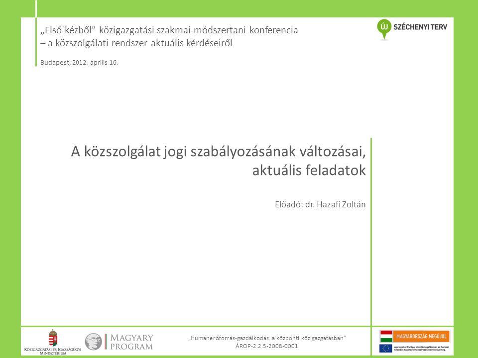 """""""Első kézből"""" közigazgatási szakmai-módszertani konferencia – a közszolgálati rendszer aktuális kérdéseiről Budapest, 2012. április 16. """"Humánerőforrá"""