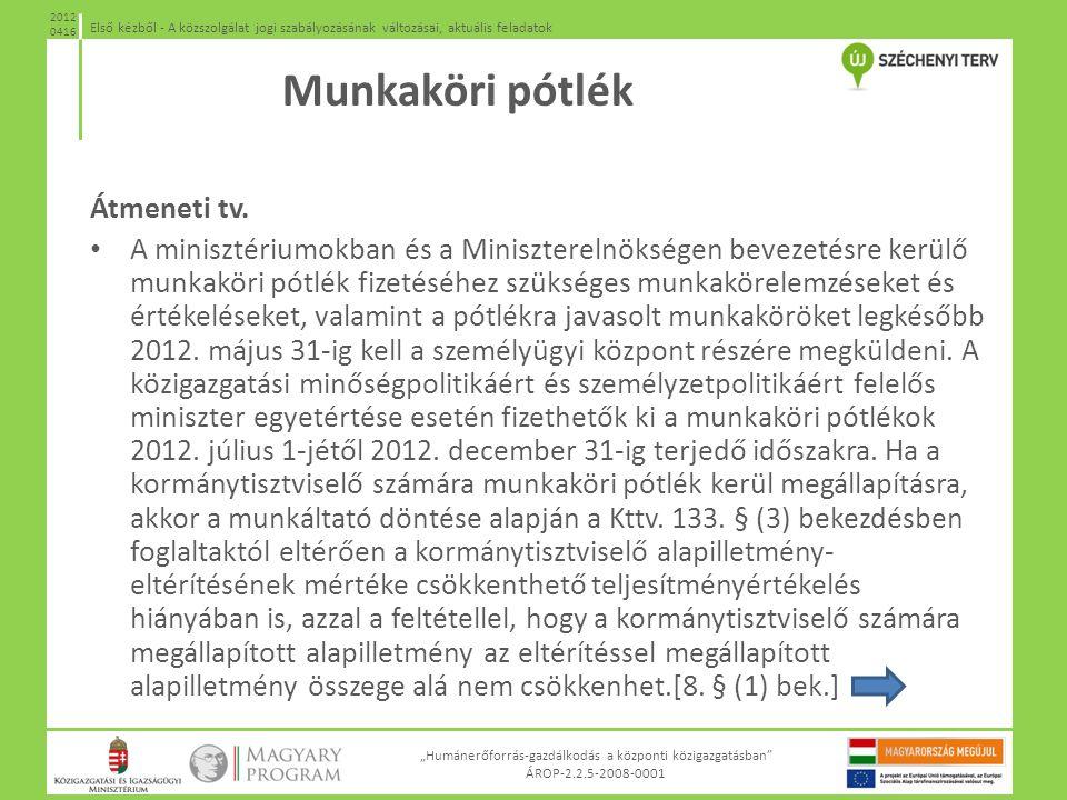 """""""Humánerőforrás-gazdálkodás a központi közigazgatásban"""" ÁROP-2.2.5-2008-0001 Első kézből - A közszolgálat jogi szabályozásának változásai, aktuális fe"""