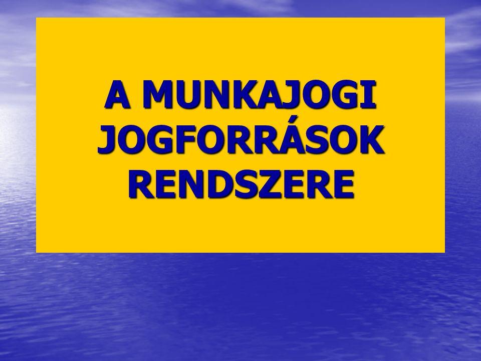 A MUNKAJOGI JOGFORRÁSOK RENDSZERE