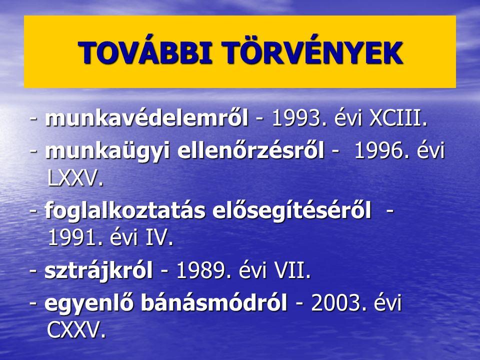 TOVÁBBI TÖRVÉNYEK - munkavédelemről - 1993. évi XCIII. - munkaügyi ellenőrzésről - 1996. évi LXXV. - foglalkoztatás elősegítéséről - 1991. évi IV. - s