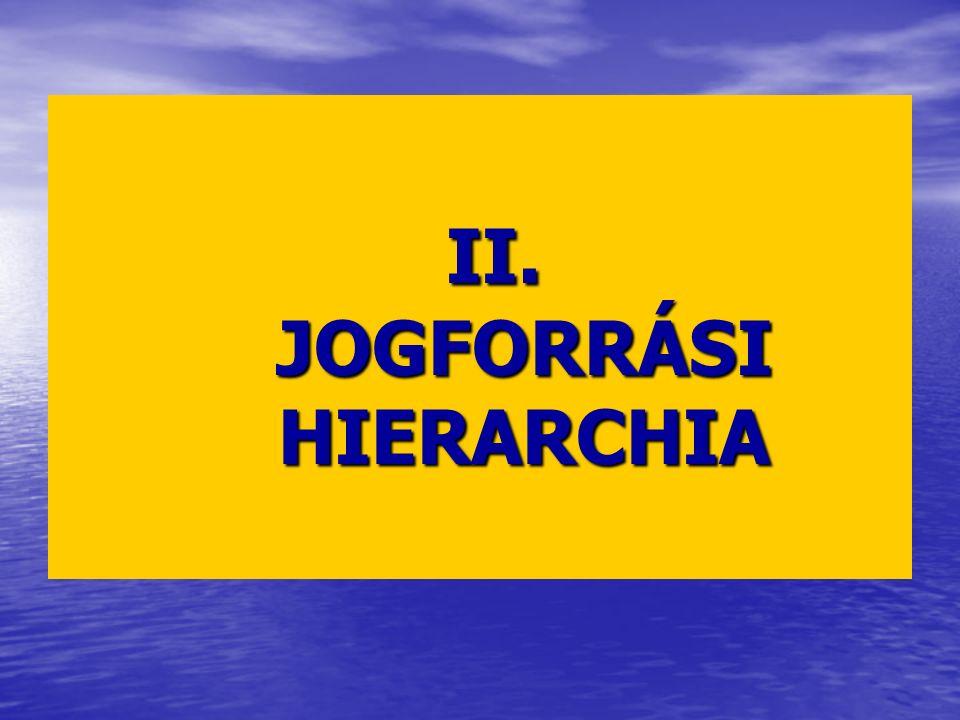 II. JOGFORRÁSI HIERARCHIA II. JOGFORRÁSI HIERARCHIA