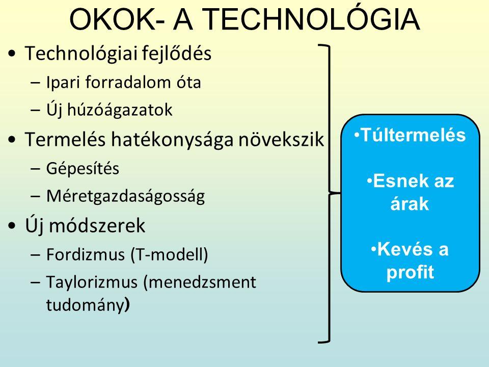 OKOK- A TECHNOLÓGIA Technológiai fejlődés –Ipari forradalom óta –Új húzóágazatok Termelés hatékonysága növekszik –Gépesítés –Méretgazdaságosság Új mód