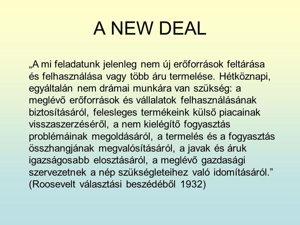"""A NEW DEAL """"A mi feladatunk jelenleg nem új erőforrások feltárása és felhasználása vagy több áru termelése. Hétköznapi, egyáltalán nem drámai munkára"""