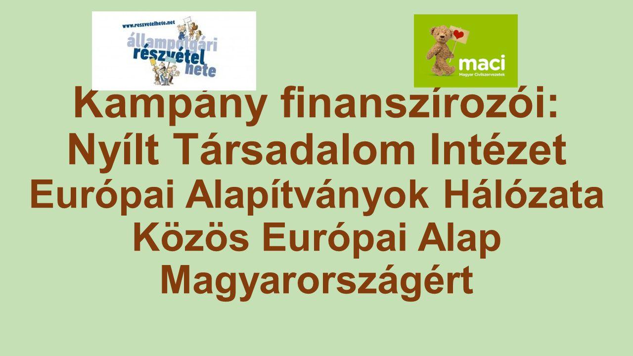 Kampány finanszírozói: Nyílt Társadalom Intézet Európai Alapítványok Hálózata Közös Európai Alap Magyarországért