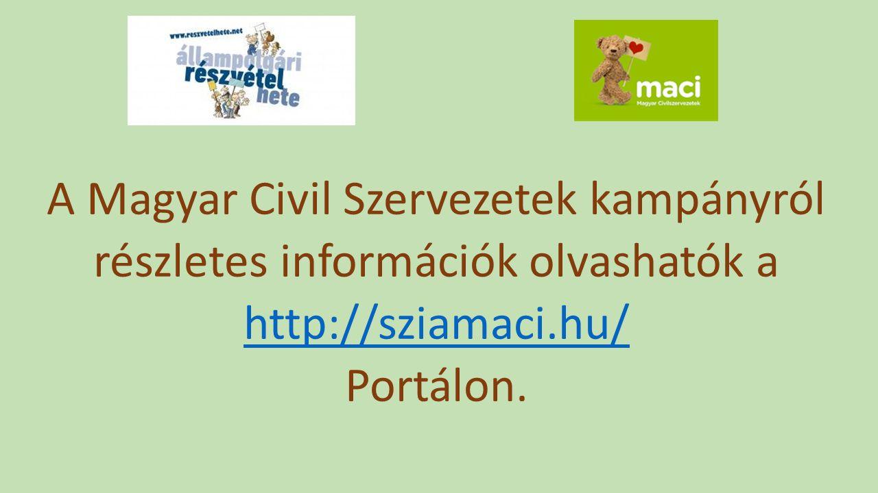 A Magyar Civil Szervezetek kampányról részletes információk olvashatók a http://sziamaci.hu/ Portálon.