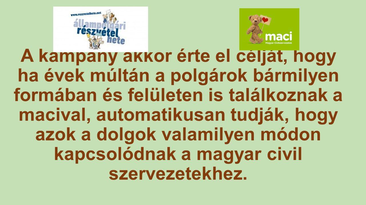 A kampány akkor érte el célját, hogy ha évek múltán a polgárok bármilyen formában és felületen is találkoznak a macival, automatikusan tudják, hogy azok a dolgok valamilyen módon kapcsolódnak a magyar civil szervezetekhez.
