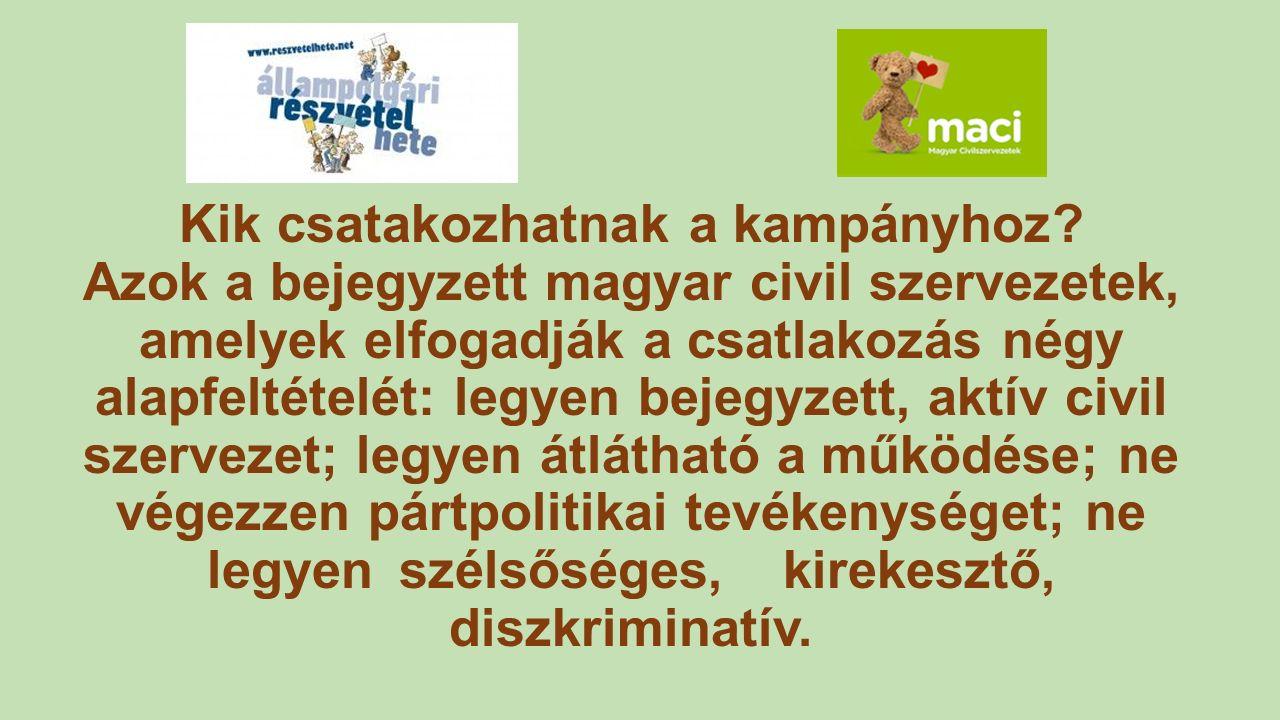 Kik csatakozhatnak a kampányhoz? Azok a bejegyzett magyar civil szervezetek, amelyek elfogadják a csatlakozás négy alapfeltételét: legyen bejegyzett,