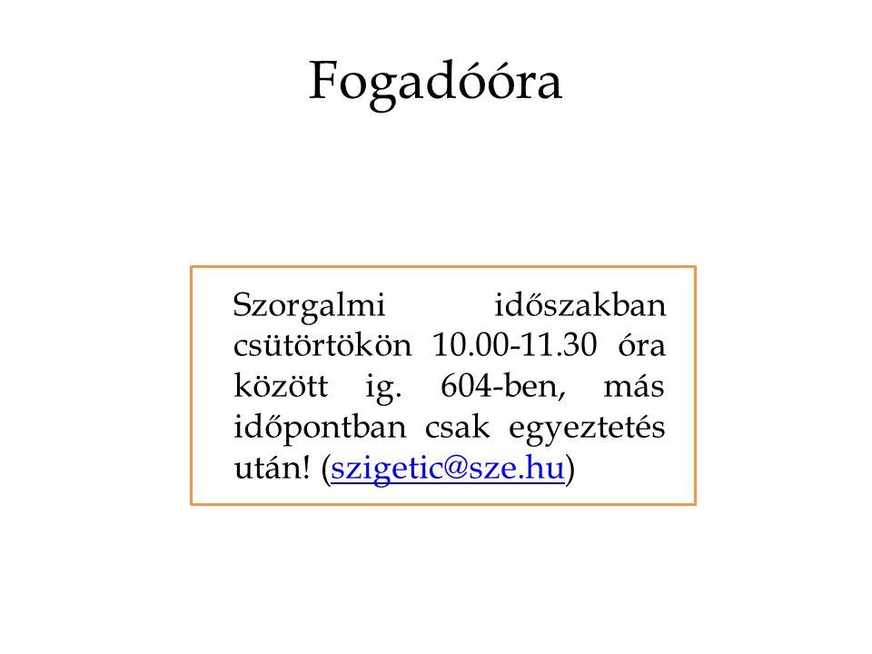 Fogadóóra Szorgalmi időszakban csütörtökön 10.00-11.30 óra között ig.
