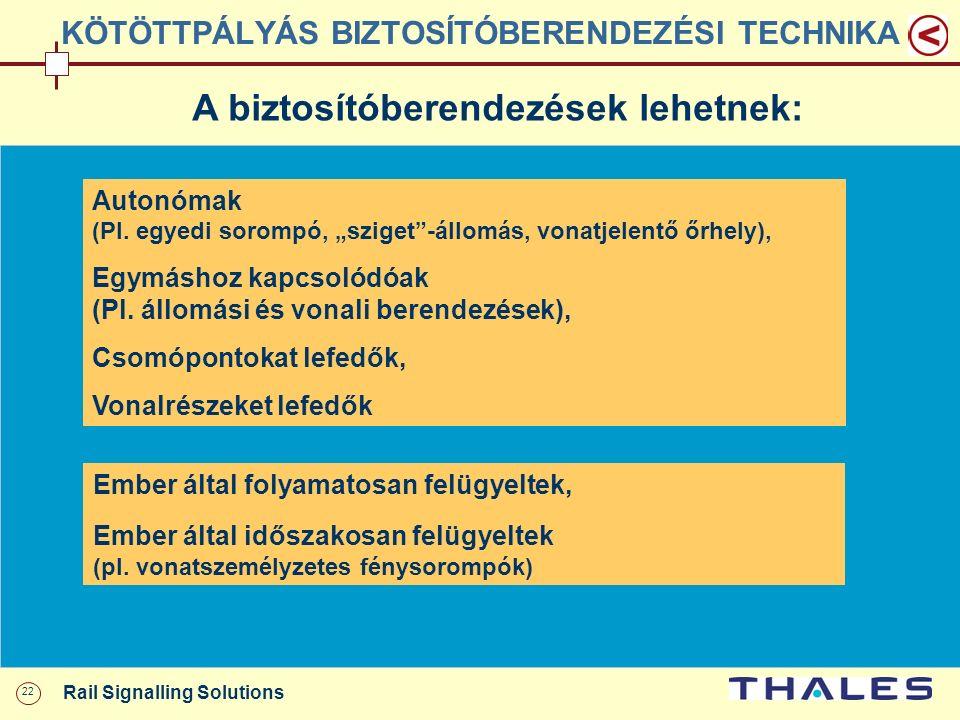 """22 Rail Signalling Solutions KÖTÖTTPÁLYÁS BIZTOSÍTÓBERENDEZÉSI TECHNIKA A biztosítóberendezések lehetnek: Autonómak (Pl. egyedi sorompó, """"sziget""""-állo"""