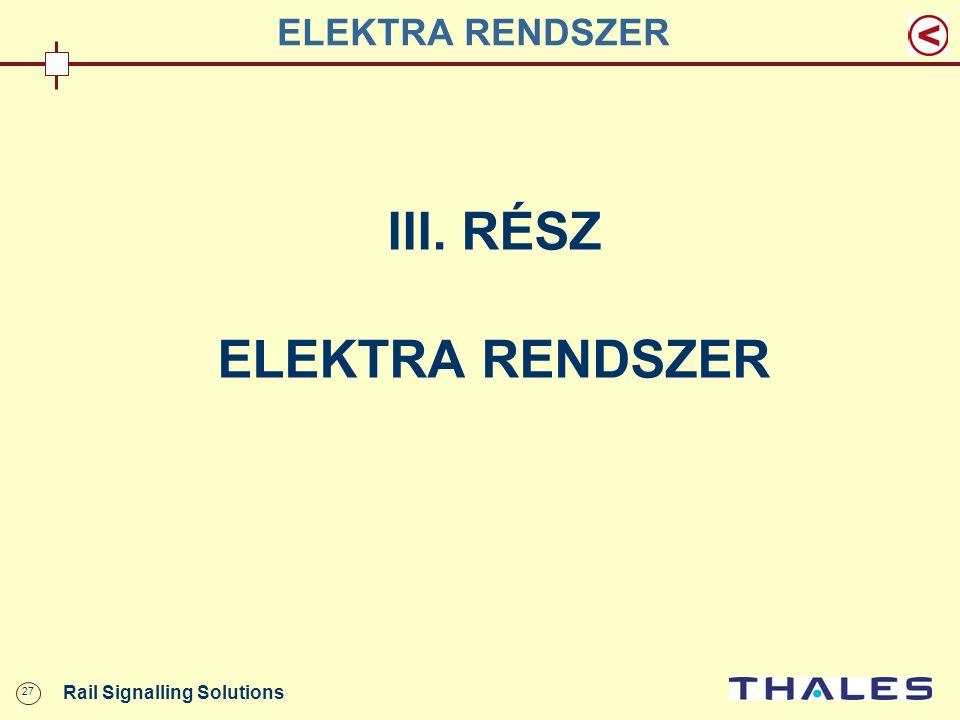 27 Rail Signalling Solutions ELEKTRA RENDSZER III. RÉSZ ELEKTRA RENDSZER