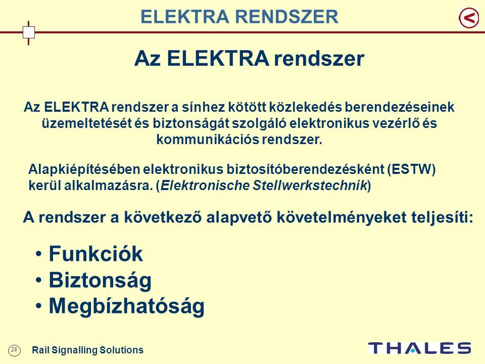 28 Rail Signalling Solutions ELEKTRA RENDSZER Az ELEKTRA rendszer Az ELEKTRA rendszer a sínhez kötött közlekedés berendezéseinek üzemeltetését és bizt