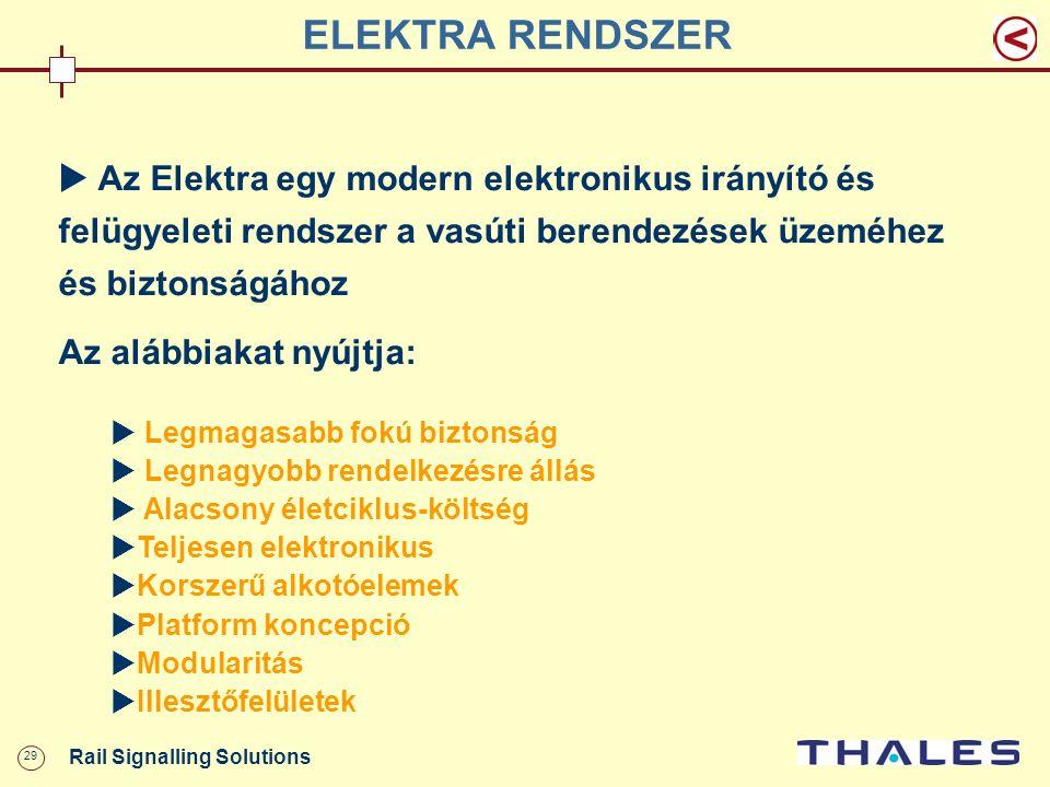 29 Rail Signalling Solutions ELEKTRA RENDSZER  Az Elektra egy modern elektronikus irányító és felügyeleti rendszer a vasúti berendezések üzeméhez és