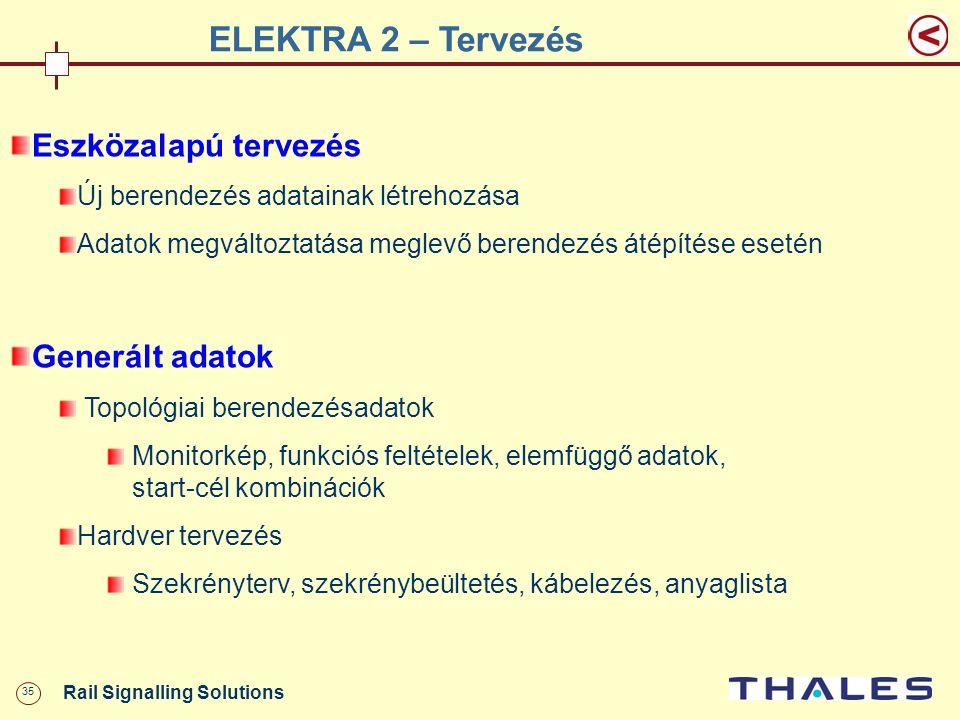 35 Rail Signalling Solutions ELEKTRA 2 – Tervezés Eszközalapú tervezés Új berendezés adatainak létrehozása Adatok megváltoztatása meglevő berendezés á