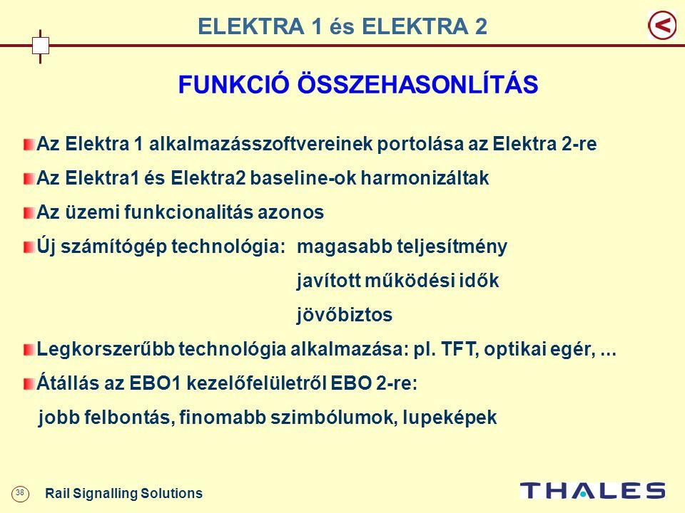 38 Rail Signalling Solutions FUNKCIÓ ÖSSZEHASONLÍTÁS Az Elektra 1 alkalmazásszoftvereinek portolása az Elektra 2-re Az Elektra1 és Elektra2 baseline-o