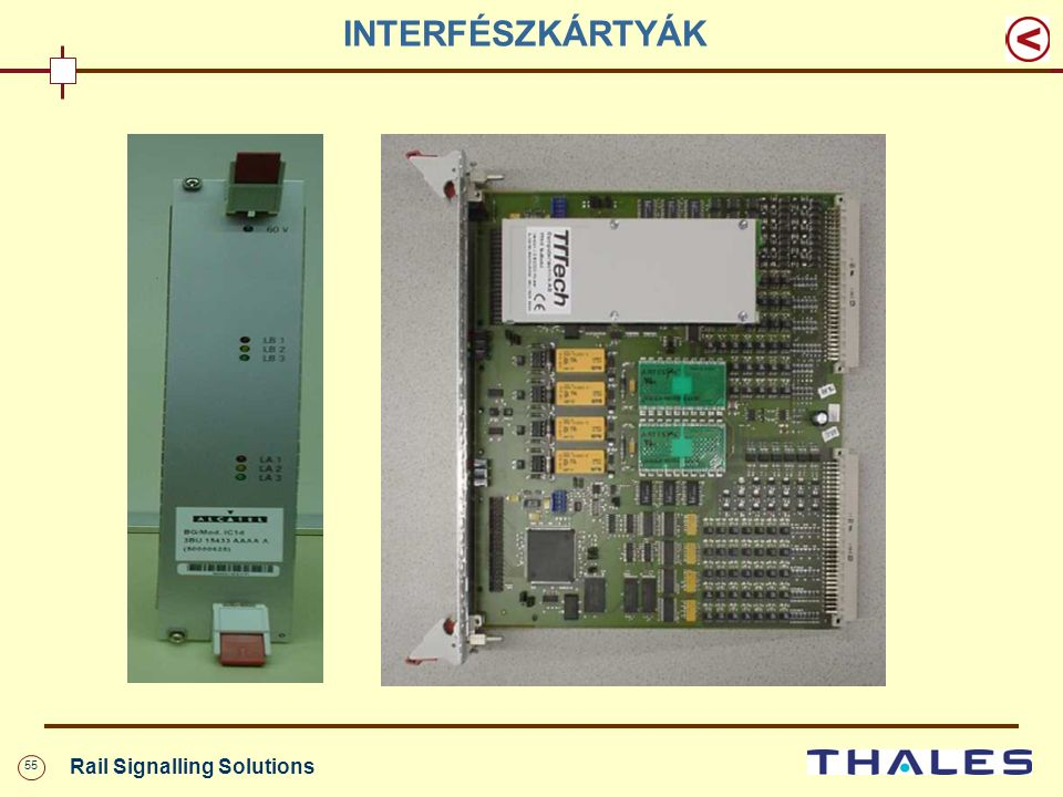 55 Rail Signalling Solutions INTERFÉSZKÁRTYÁK