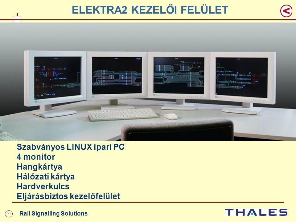 56 Rail Signalling Solutions ELEKTRA2 KEZELŐI FELÜLET Szabványos LINUX ipari PC 4 monitor Hangkártya Hálózati kártya Hardverkulcs Eljárásbiztos kezelő