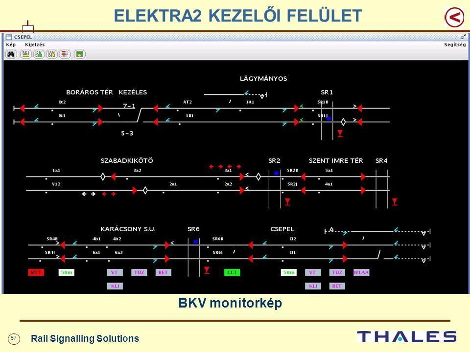 57 Rail Signalling Solutions ELEKTRA2 KEZELŐI FELÜLET BKV monitorkép