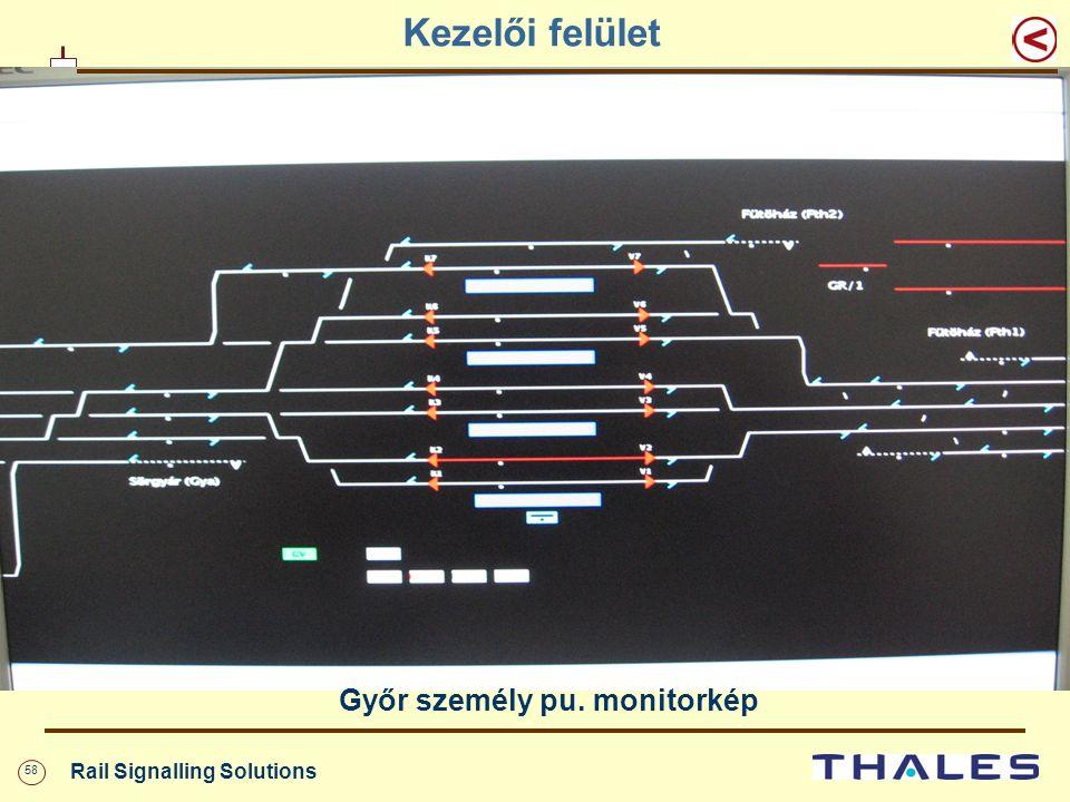 58 Rail Signalling Solutions Kezelői felület Győr személy pu. monitorkép