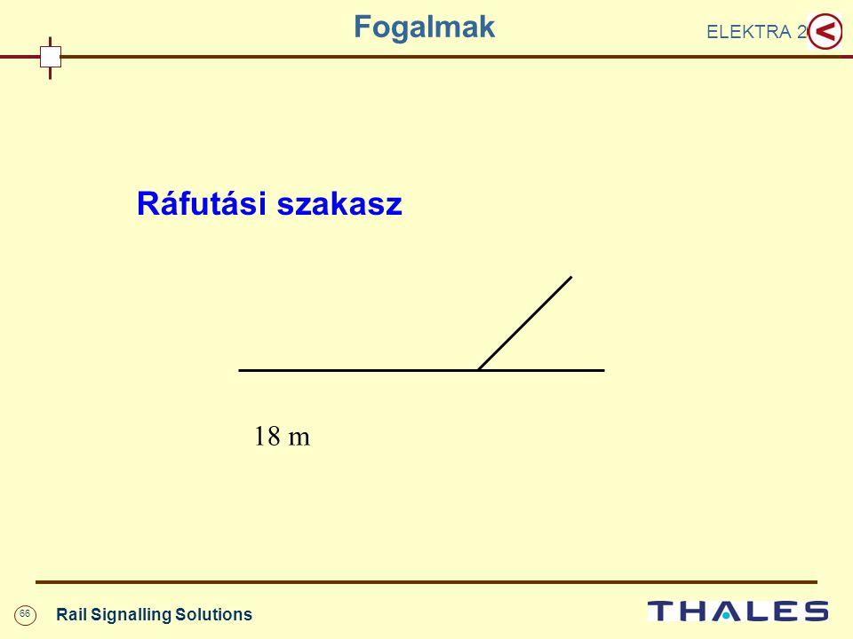 66 Rail Signalling Solutions Fogalmak ELEKTRA 2 Ráfutási szakasz 18 m