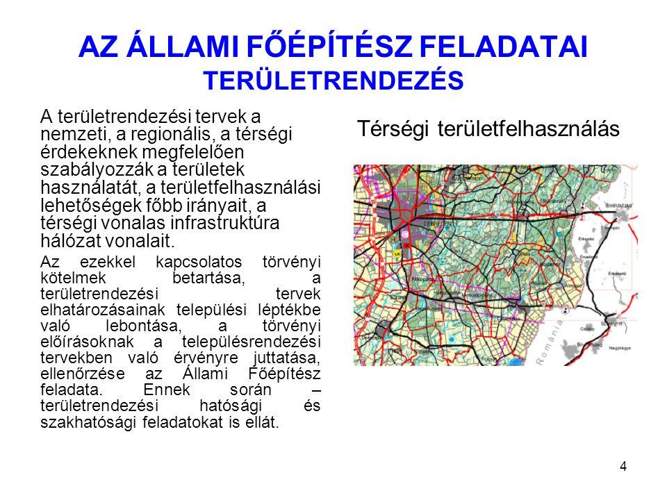 4 AZ ÁLLAMI FŐÉPÍTÉSZ FELADATAI TERÜLETRENDEZÉS A területrendezési tervek a nemzeti, a regionális, a térségi érdekeknek megfelelően szabályozzák a ter