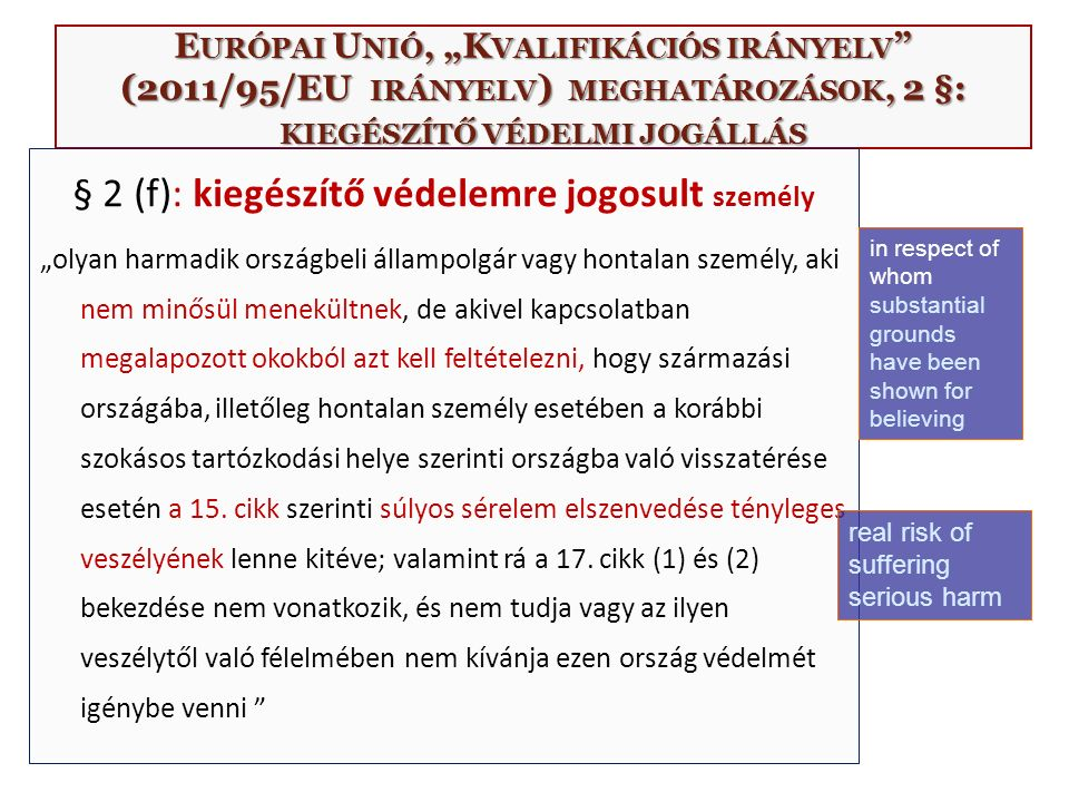 """E URÓPAI U NIÓ, """"K VALIFIKÁCIÓS IRÁNYELV (2011/95/EU IRÁNYELV ) MEGHATÁROZÁSOK, 2 §: KIEGÉSZÍTŐ VÉDELMI JOGÁLLÁS § 2 (f): kiegészítő védelemre jogosult személy """"olyan harmadik országbeli állampolgár vagy hontalan személy, aki nem minősül menekültnek, de akivel kapcsolatban megalapozott okokból azt kell feltételezni, hogy származási országába, illetőleg hontalan személy esetében a korábbi szokásos tartózkodási helye szerinti országba való visszatérése esetén a 15."""