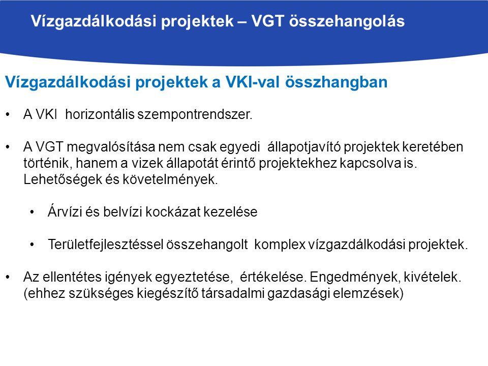 Vízgazdálkodási projektek a VKI-val összhangban A VKI horizontális szempontrendszer. A VGT megvalósítása nem csak egyedi állapotjavító projektek keret