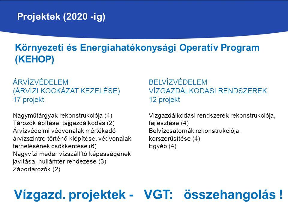 Projektek (2020 -ig) ÁRVÍZVÉDELEM (ÁRVÍZI KOCKÁZAT KEZELÉSE) 17 projekt Nagyműtárgyak rekonstrukciója (4) Tározók építése, tájgazdálkodás (2) Árvízvéd