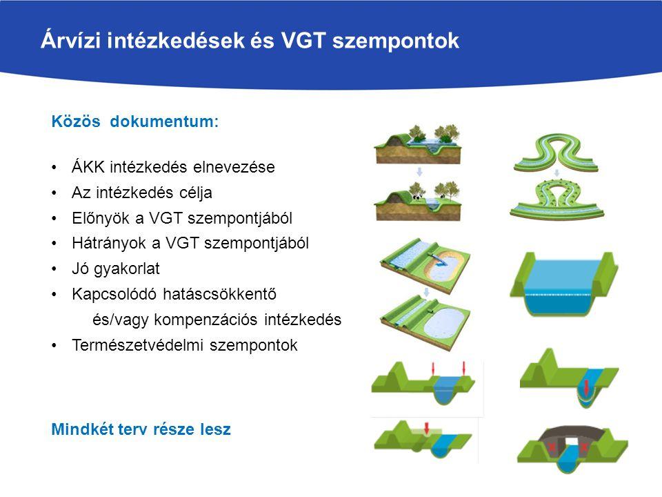 Árvízi intézkedések és VGT szempontok A leírások alapján az ÁKK intézkedések a VGT szempontjából 4 csoportba sorolhatók: A VKI szerint is kedvező (állapotjavító) intézkedés : Árhullám csökkentés szükségtározóban (ha rendszeres), Töltés áthelyezés Árapasztó csatorna (ha…), Felesleges építmények elbontása, Mellékágak rehabilitációja, Depóniák és nyári gátak elbontása, Elfogadható (semleges) Töltésmagasítás, Az alkalmazástól függ (jó gyakorlat betartása!) Ártéri területhasználat, Növényzet átalakítása, fenntartása, Mederkotrás, Medertározás, Szabályozási művek átépítése, Övzátonyrendezés, Kanyarulatrendezés Kedvezőtlen (VKI szerinti kivételek, és szabályok), Töltésépítés (szűk hullámtér), Mederstabilizáció Nem csak a jövő projektekre kell alkalmazni, hanem a múltra is  